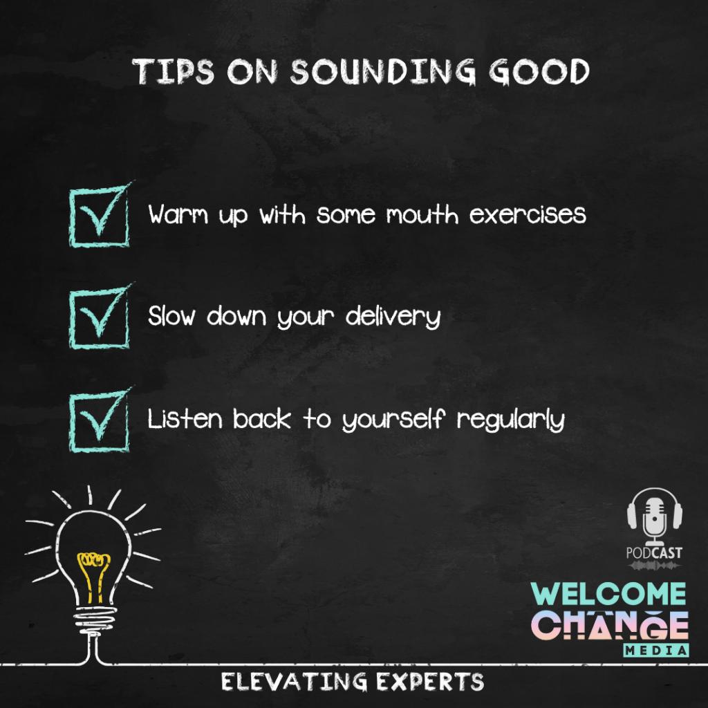 """EE2.04 Chalkboard """"tips on sounding good"""""""