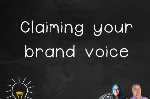 """Episode 2.02 podcast art """"claiming your brand voice"""""""