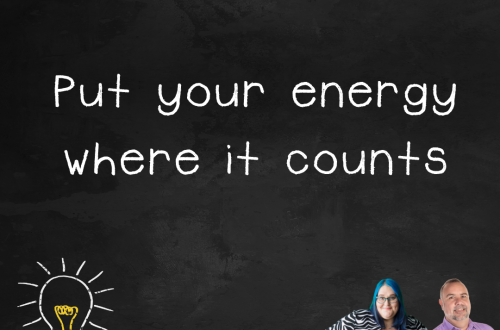 """Episode 2.01 podcast art """"put your energy where it counts"""""""